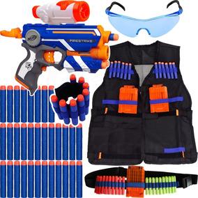 Kit Arma Firestrike Nerf + Colete + Acessórios + 60 Dardos