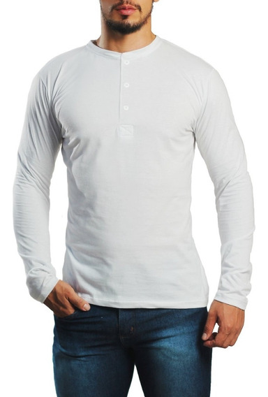 Kit 10 Camiseta Henley Manga Longa/curta Algodão Pronta Entr