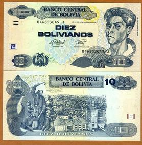 Bolívia 10 Bolivianos 2012 P. New Fe Cédula Let. J Tchequito