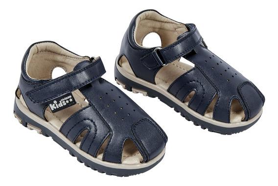 Zapato Sandalia Niño Color Marino Tipo Cangrejera Con Contac