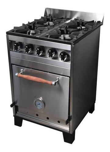 Imagen 1 de 3 de Cocina industrial Enrique García EG 80 a gas 4 hornallas  plateada puerta  ciega