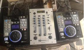 Kit Para Dj Com 2 Cdj Skp 3006ip + Mixer Skp Sm105
