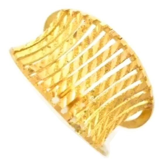 Anel Feminino Ouro 18k Côncavo Com Tiras Texturizadas + Porta Joias 1725