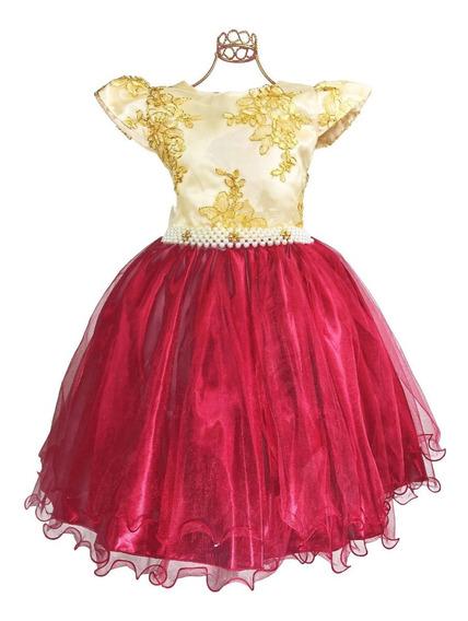 Vestido Infantil Festa Marsala Dourado Dama De Honra Luxo