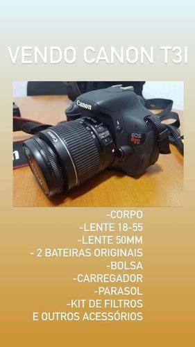Câmera Canon T3i Com Lente 50 Mm E 18-55 + Duas Baterias