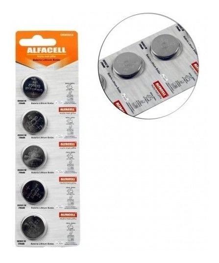 Bateria Alfacell Cr2032 3v Moeda Cartela Com 5 Peças