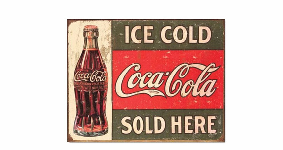 Quadro Decorativo Em Metal Coca Cola Pl309 30x40cm