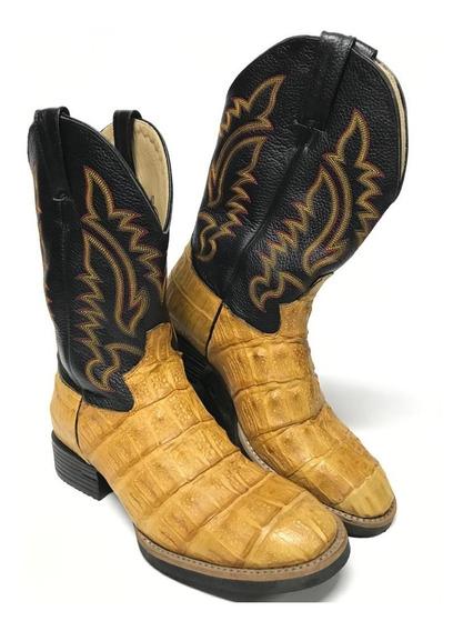 Bota Texana Masculina Jácomo Bico Redondo Couro De Jacaré