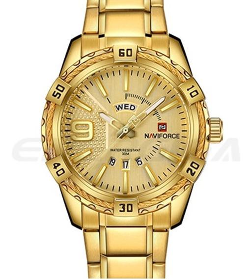 Relógio Masculino Luxo Naviforce Original Aço N9117