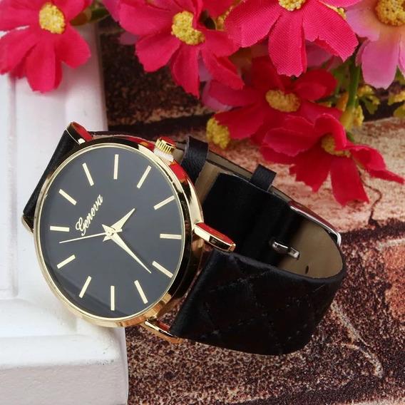 Relógio Feminino Geneva Luxo Pulseira Couro Preço De Atacado