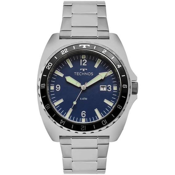 Relógio Masculino Technos 2115moc/8a 48mm Aço Prata