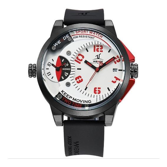 Relógio Masculino Weide Analógico Uv-1501 - Preto E Vermelho