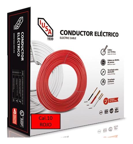Caja 100 Mts Cable Iusa Rojo Thw Cal 10 Awg 100%cobre