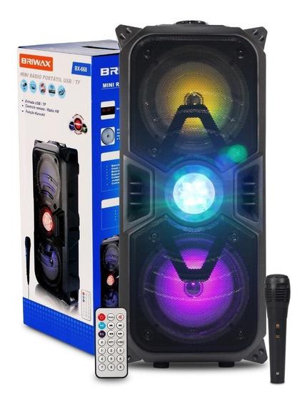 Caixa Som Bluetooth Portátil Mp3 Usb Fm Grande Luz Rgb Festa