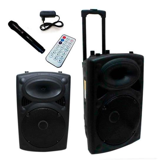 Caixa De Som Amplificada Alça Bluetooth Microfone Rádio