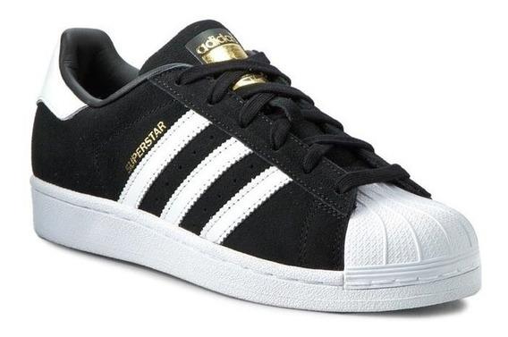 Tênis adidas Superstar Camurça Preto Faixas Brancas Oferta.