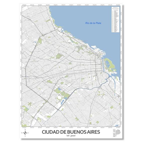 Mapa Ciudad Autónoma De Buenos Aires 80cmx61cm