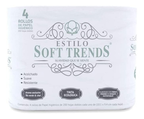 Papel Higienico 4 Rollos  200 Hojas Doble Estilo Soft Trends