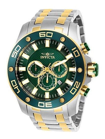 Invicta Reloj Hombre Verde Pro Diver Scuba Quartz Dos Tonos