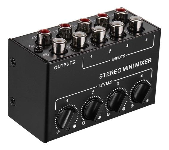 Mini Mixer De Áudio Estéreo Com Entradas Rca De 4 Canais