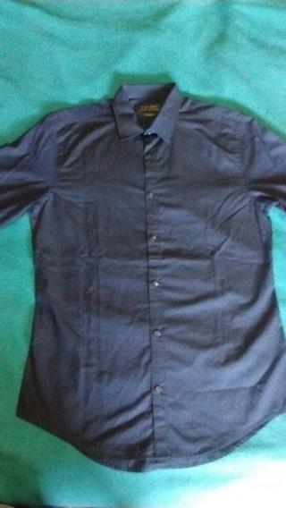 Camisa Zara Man Slim Fit Talle S Violeta Oscuro