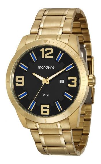 Relógio Mondaine Masculino 99176gpmvda2 Pulseira Dourada*