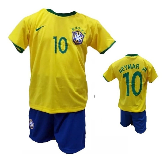 Uniforme Infantil Seleção Brasil Neymar 2019 Pronta Entrega