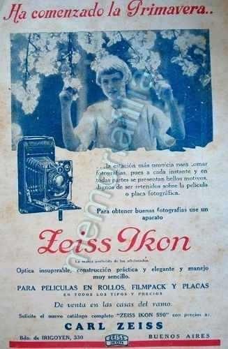 Publicidad Antigua Camara Fotografica Zeiss Ikon 1927