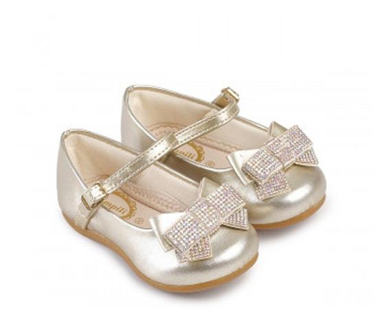 Sapato Infantil Pampili Angel Dourado Com Laço