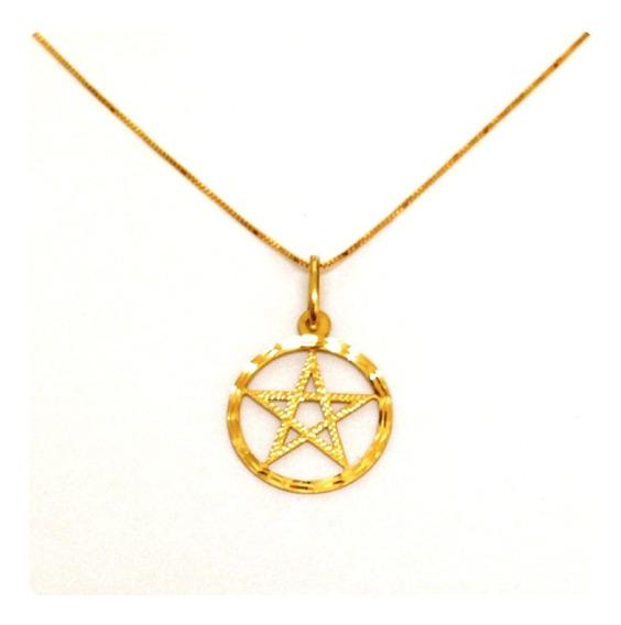 Corrente De 45 Cm Com Pingente Pentagrama De Ouro 18k-750