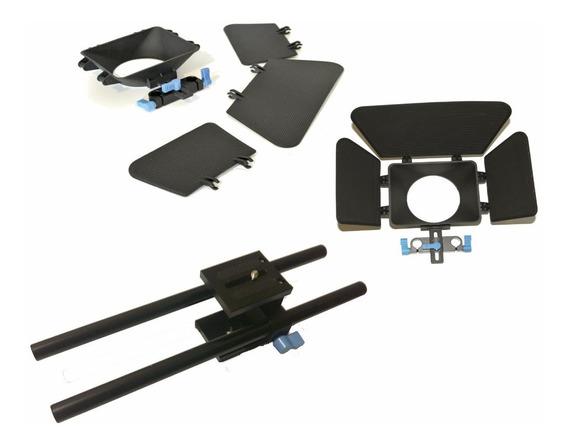 Kit Dslr Matte Box + Suporte Base Com Barras De 30cm