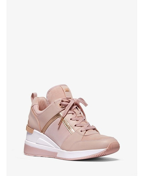 Tenis Michael Kors Georgie Trainer Leather And Canvas Rosa