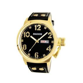 Relógio Magnum Casual Ma32783u Masculino Dourado Fundo Preto