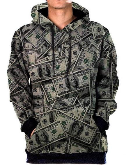 Blusa Moletom Bolso Lateral Money Tumblr Swag Dolar