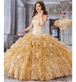 Vestido Xv Años Dorado Confeccionado Por Diseñadora/oferta¡¡