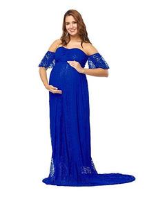 b1351eee8 Vestido De Maternidad Embarazada Azul Rey Fotografia Justvh