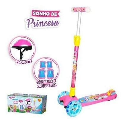 Patinete Infantil Kit Proteção Meninas Luzes Nas Rodas 60kg
