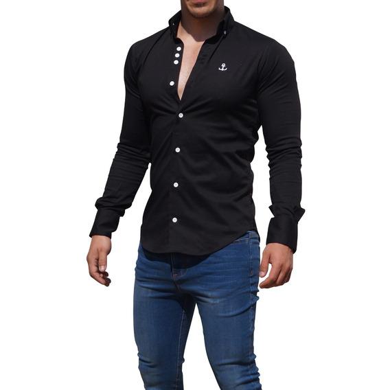 Camisa Negra John Leopard Super Slim Fit
