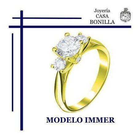 Anillo Compromiso Oro Amarillo 14k Macizo Diamante Grafito