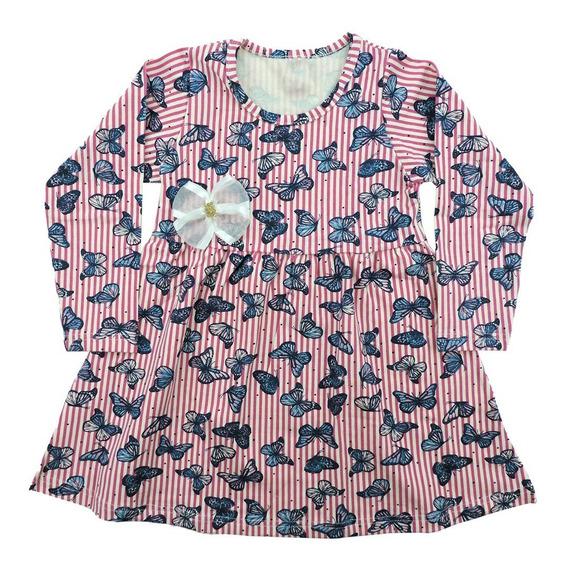 Kit 3 Vestido Infantil Manga Longa Estampado Inverno