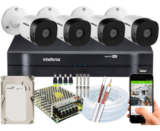 Kit Cftv Intelbras 4 Câmeras 30m Vhd 3130 B G5 Dvr 4 Ch 500g