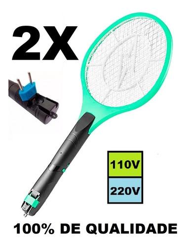 2un Raquete Elétrica Recarregável Mata Mosquito Mosca Bivolt