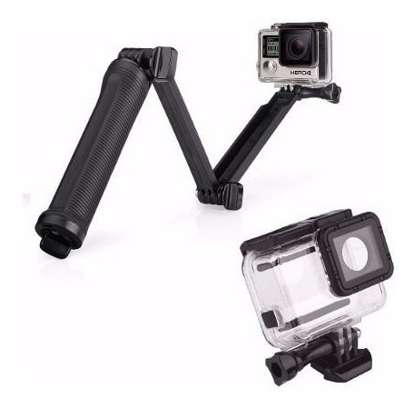 Caixa Estanque Go Pro Hero 5 Black+bastão 3 Way Formas Tripé