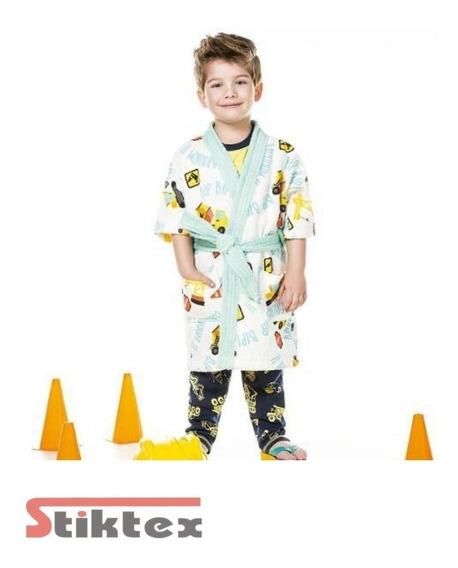 Roupão Infantil Felpudo Tamanho P ( 4 A 6 Anos )- Estampa T