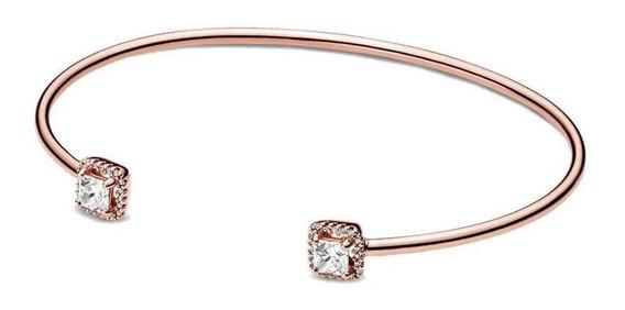 Bracelete Rígido Aberto Rosé Em Prata 925 Estilo Pandora