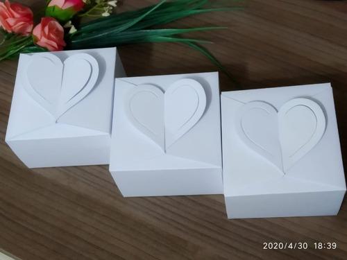 50 Caixinhas Branca Coração Bem Casado Pão De Mel - 7cm G