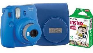 Camara Fuji Intax Mini9 Rosa Y Azul Estuche Y 10 Peliculas