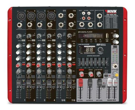 Mesa De Som Amplificada 8 Canais 300w+300w Rms Mixer Novik N