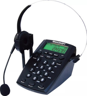 Telefone Headset Base Fone Fixo Fio Telemarketing Bina
