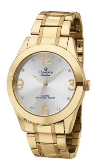 Relógio Feminino Dourado Champion Ch24268h Com Kit Brinde